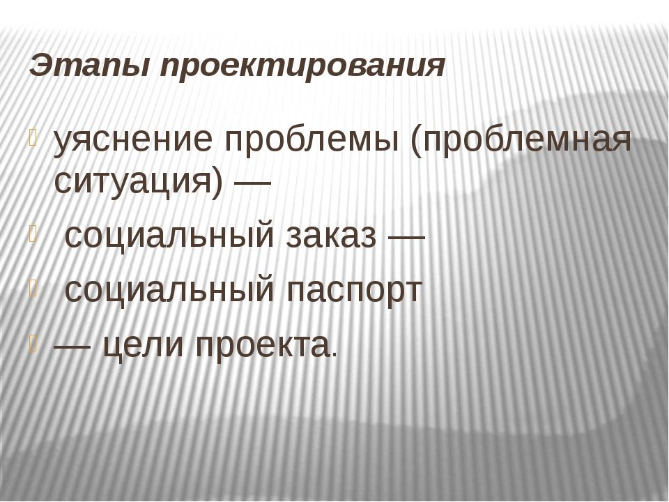 Этапы проектирования уяснение проблемы (проблемная ситуация) — социальный зак...