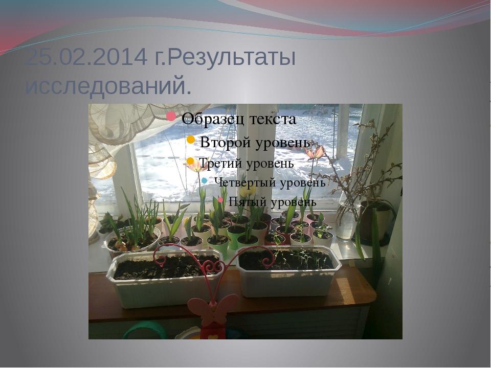 25.02.2014 г.Результаты исследований.