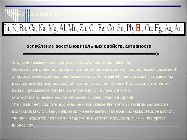 Электрохимический ряд напряжения Этот ряд называется электрохимическим рядом...
