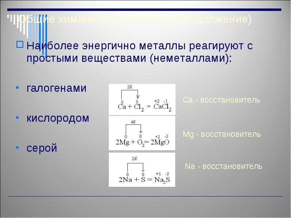 Общие химические свойства (продолжение) Наиболее энергично металлы реагируют...