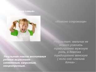 «Кумир семьи» Результат такого воспитания ребенок вырастает изнеженным, капр