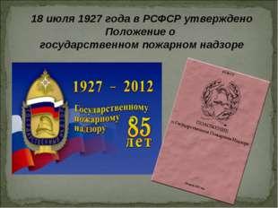 18 июля 1927 года в РСФСР утверждено Положение о государственном пожарном над