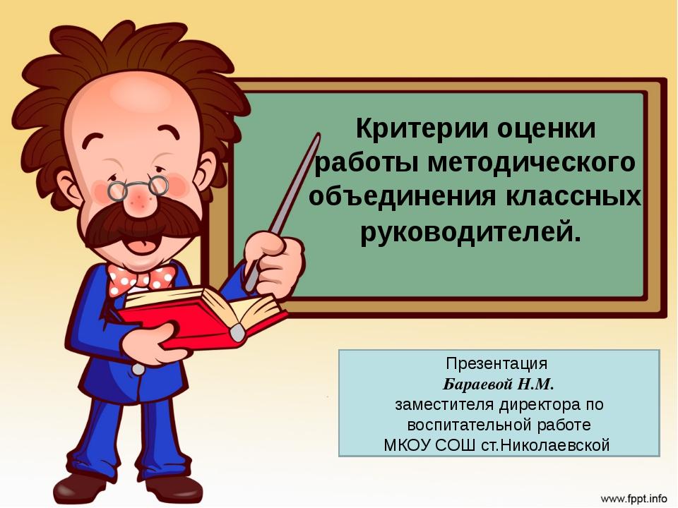 Критерии оценки работы методического объединения классных руководителей. Пре...