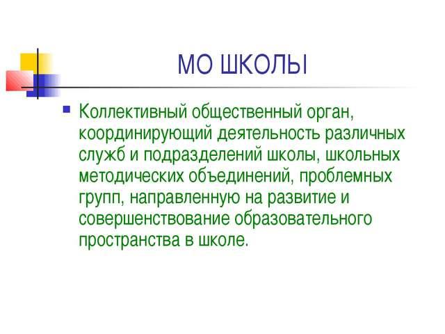 МО ШКОЛЫ Коллективный общественный орган, координирующий деятельность различн...