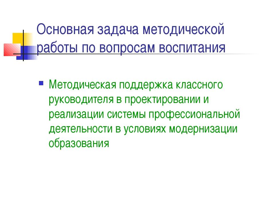 Основная задача методической работы по вопросам воспитания Методическая подде...