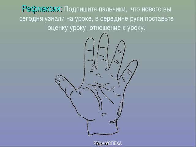 Рефлексия: Подпишите пальчики, что нового вы сегодня узнали на уроке, в серед...