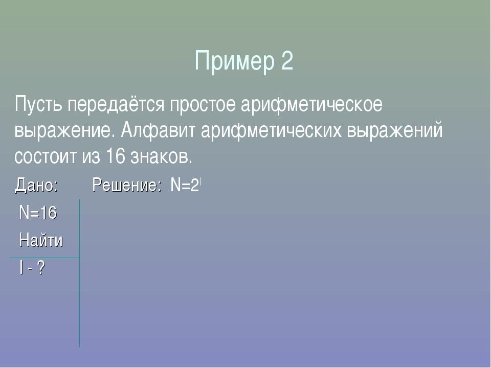 Пример 2 Пусть передаётся простое арифметическое выражение. Алфавит арифметич...