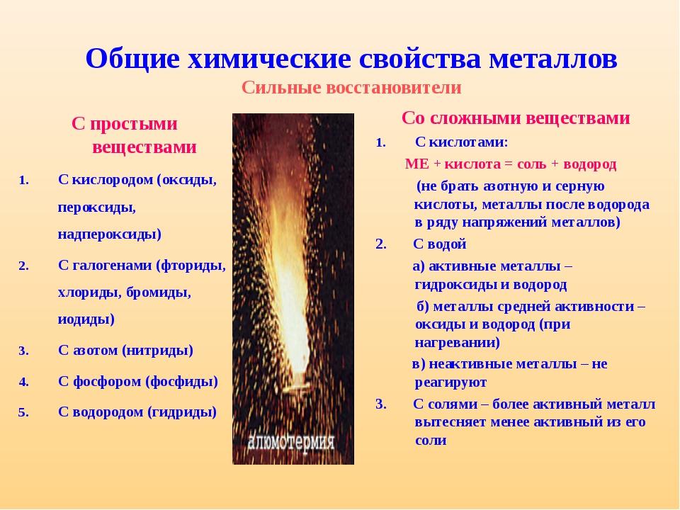 Химические свойства металлов таблица