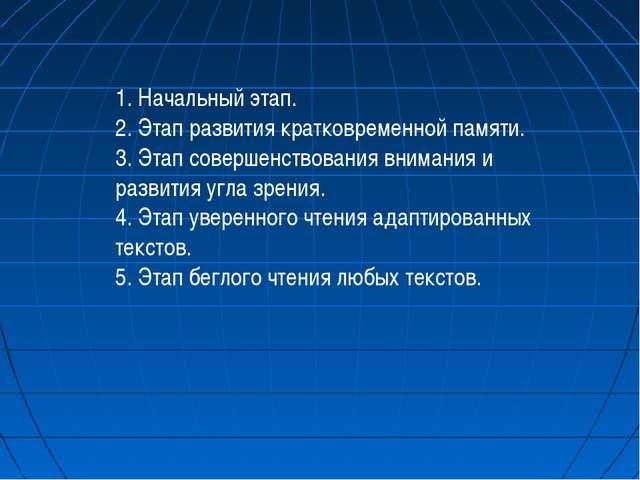 1. Начальный этап. 2. Этап развития кратковременной памяти. 3. Этап совершен...