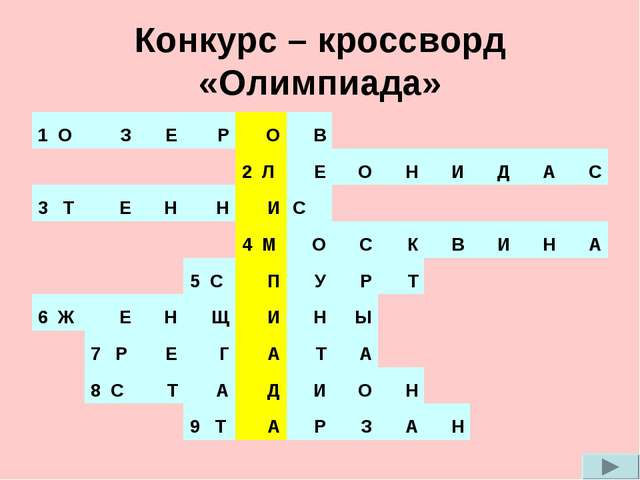 Конкурс – кроссворд «Олимпиада» 1 ОЗЕРОВ 2 ЛЕОНИДАС 3 Т...