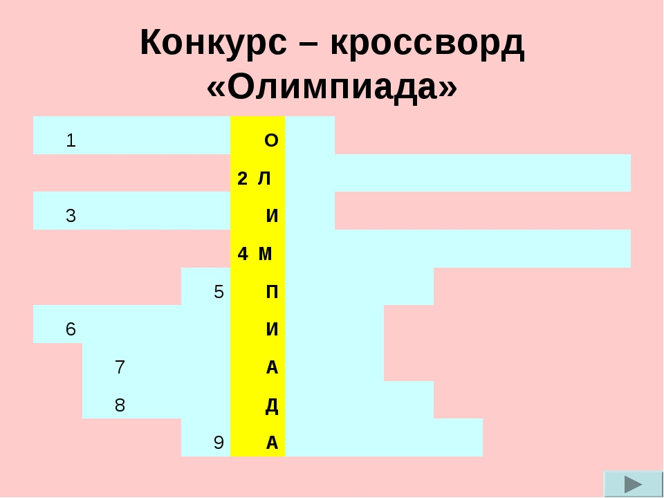 Конкурс – кроссворд «Олимпиада» 1О 2 Л 3...