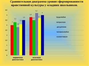 Сравнительная диаграмма уровня сформированности нравственной культуры у младш