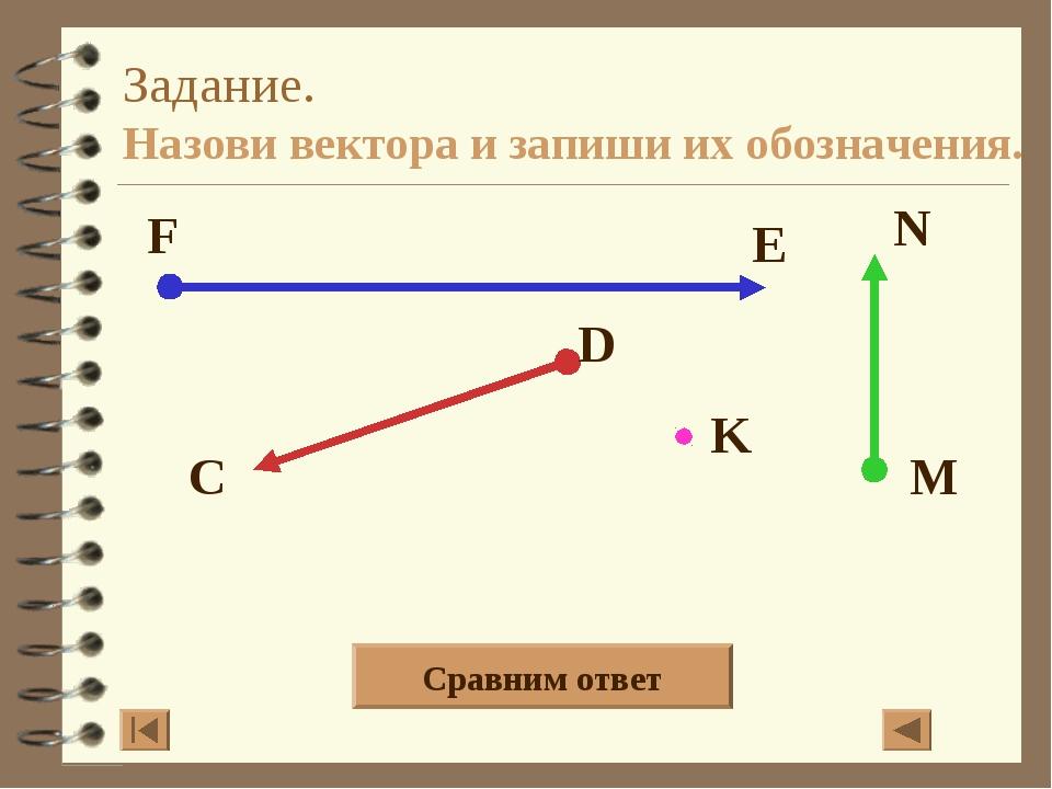 Задание. Назови вектора и запиши их обозначения. Сравним ответ