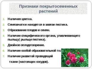 Признаки покрытосеменных растений Наличия цветка. Семязачатки находятся в зав