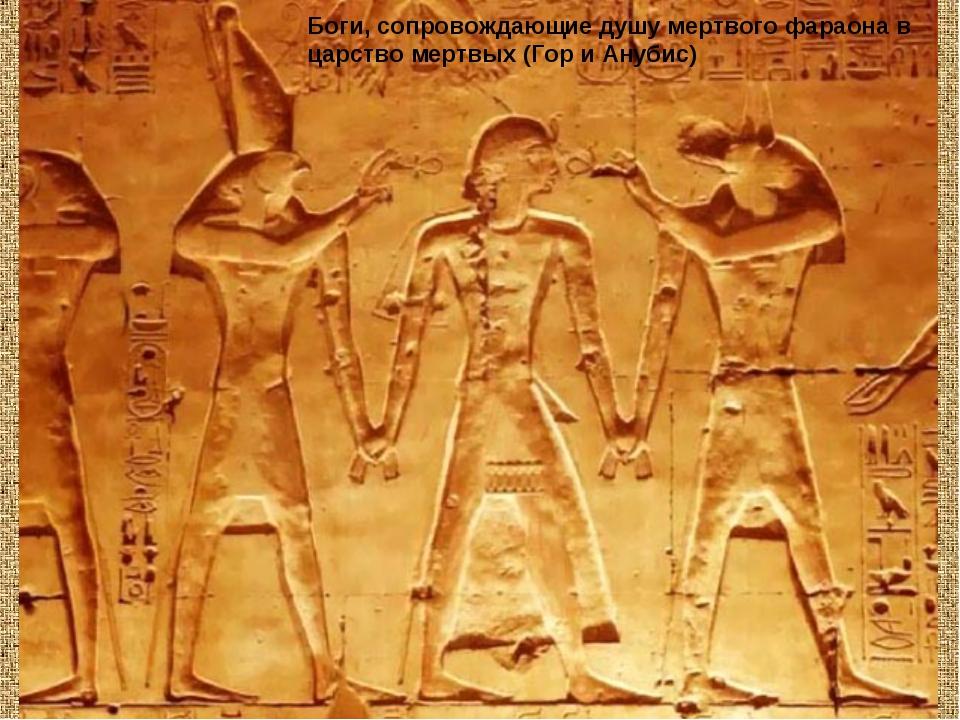 Боги, сопровождающие душу мертвого фараона в царство мертвых (Гор и Анубис)