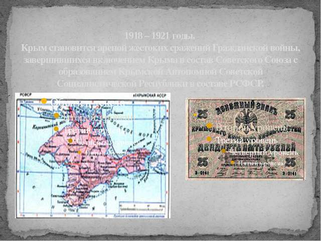 1918 – 1921 годы. Крым становится ареной жестоких сражений Гражданской войны,...