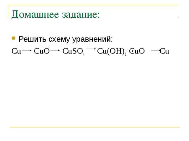 Домашнее задание: Решить схему уравнений: Сu CuO CuSO4 Cu(OH)2 CuO Cu