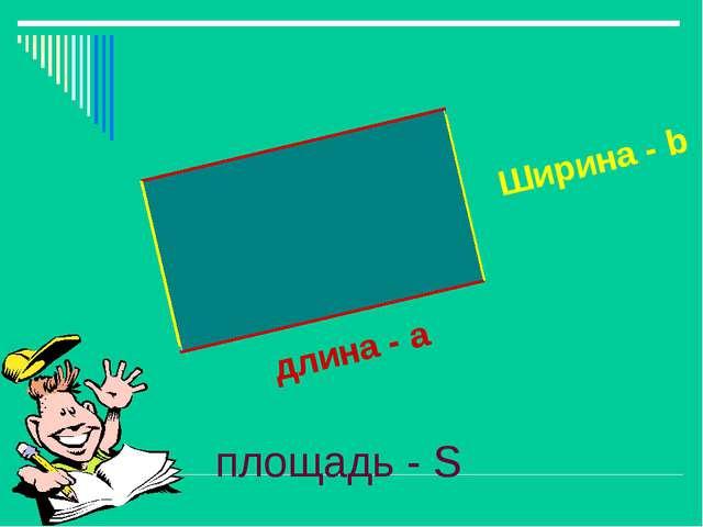 длина - a Ширина - b площадь - S