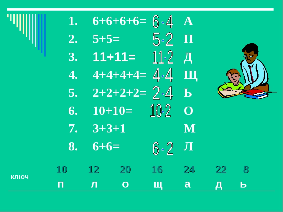 ключ п л о щ а д ь 1012201624228  1.6+6+6+6= А 2.5+5=П 3.11+...