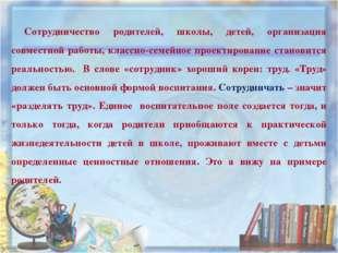 Сотрудничество родителей, школы, детей, организация совместной работы, классн
