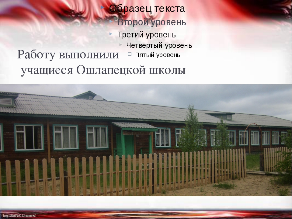 Работу выполнили учащиеся Ошлапецкой школы