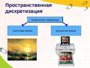 Пространственная дискретизация Графическая информация Аналоговая форма Дискре