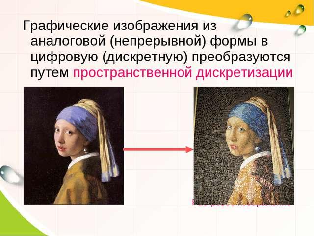 Графические изображения из аналоговой (непрерывной) формы в цифровую (дискре...