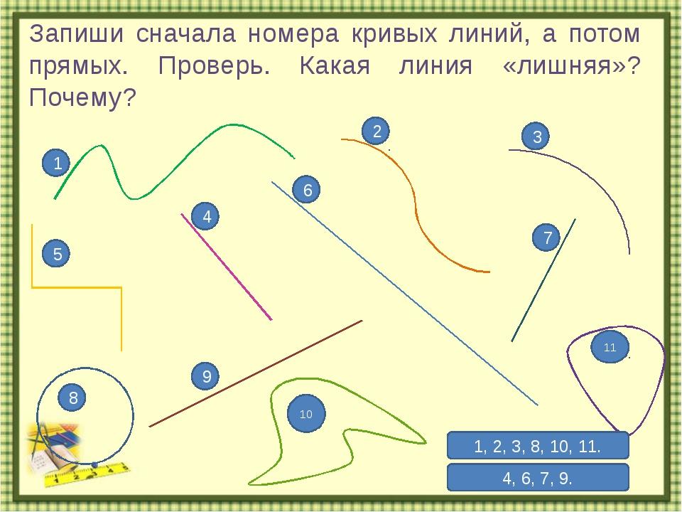 Запиши сначала номера кривых линий, а потом прямых. Проверь. Какая линия «лиш...
