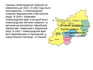 Границы Нижегородской губернии не изменялись до 1922 г. В 1922 году были прис
