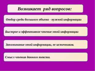 Отбор среди большого объема - нужной информации Быстрое и эффективное чтение