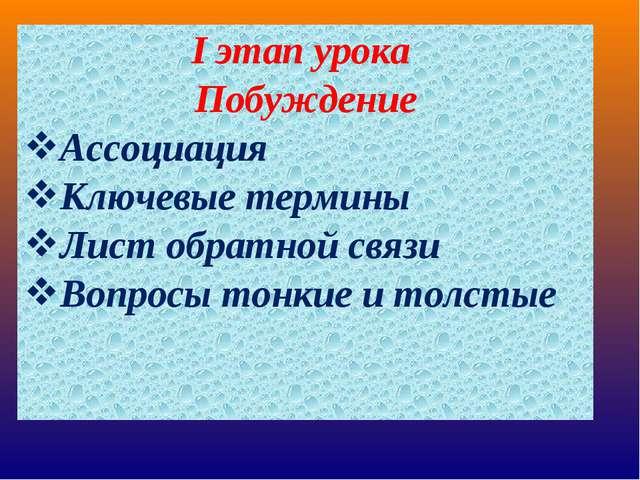 I этап урока Побуждение Ассоциация Ключевые термины Лист обратной связи Вопро...