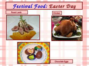 Festival Food: Easter Day Chocolate Eggs Roast Lamb Chicken