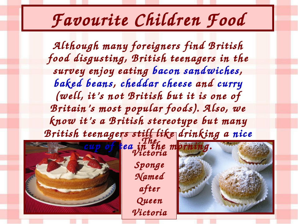 Favourite Children Food The Victoria Sponge Named after Queen Victoria Althou...