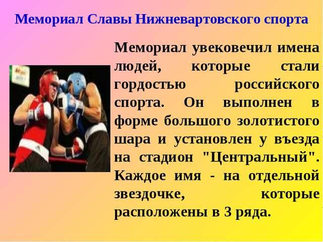 Мемориал Славы Нижневартовского спорта Мемориал увековечил имена людей, котор...