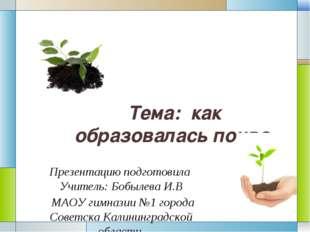 Тема: как образовалась почва. Презентацию подготовила Учитель: Бобылева И.В М