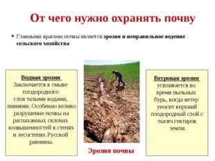 От чего нужно охранять почву Главными врагами почвы является эрозия и неправи