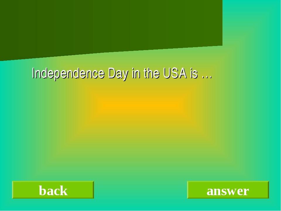 Independence Day in the USA is … back answer