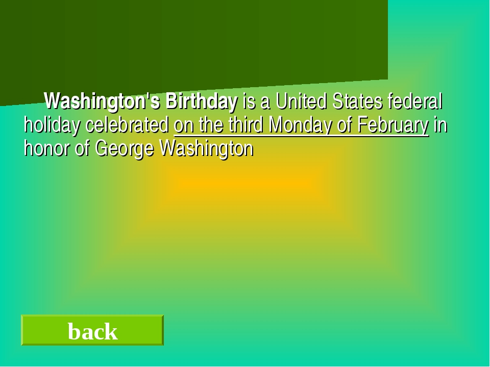 Washington's Birthday is a United States federal holiday celebrated on the t...