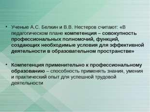 Ученые А.С. Белкин и В.В. Нестеров считают: «В педагогическом плане компетенц