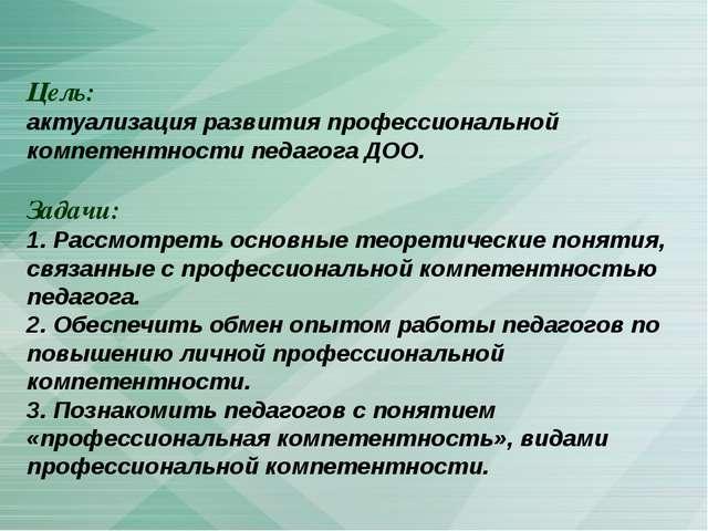 Цель: актуализация развития профессиональной компетентности педагога ДОО. Зад...