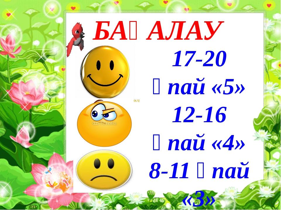 БАҒАЛАУ 17-20 ұпай «5» 12-16 ұпай «4» 8-11 ұпай «3»