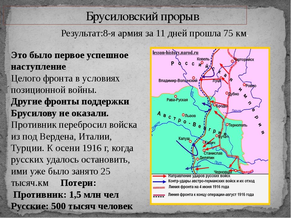 Брусиловский прорыв Результат:8-я армия за 11 дней прошла 75 км. Это было пе...