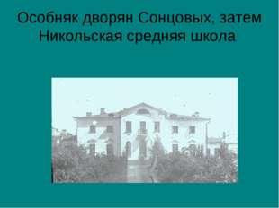 Особняк дворян Сонцовых, затем Никольская средняя школа