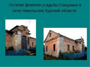 Остатки флигеля усадьбы Сонцовых в селе Никольское Курской области