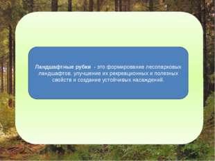 Ландшафтные рубки - это формирование лесопарковых ландшафтов, улучшение их э