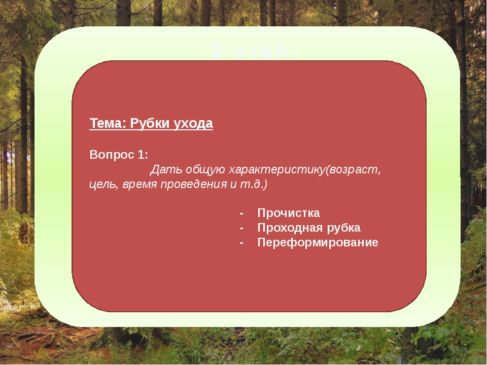 2-этап: Тема: Рубки ухода Вопрос 1: Дать общую характеристику(возраст, цель,...