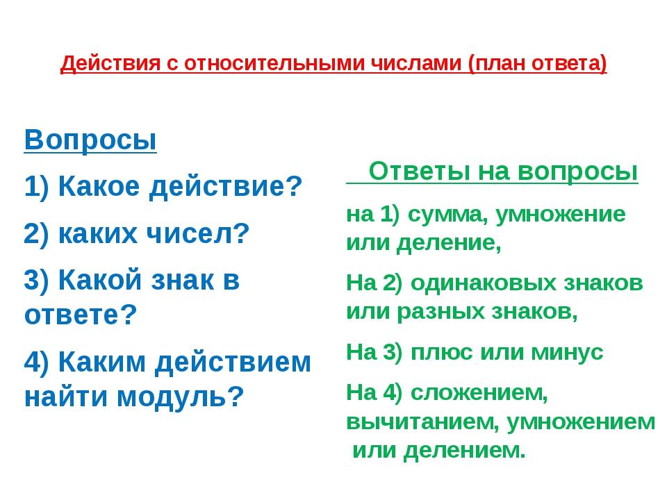 Действия с относительными числами (план ответа) Вопросы 1) Какое действие? 2)...