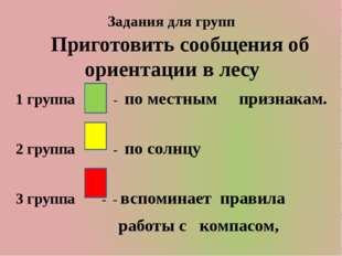 Задания для групп Приготовить сообщения об ориентации в лесу 1 группа - по ме