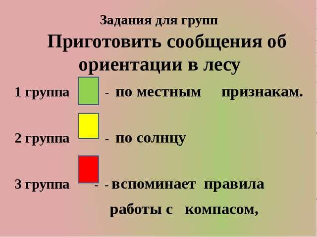 Задания для групп Приготовить сообщения об ориентации в лесу 1 группа - по ме...