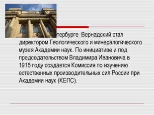 В Петербурге Вернадский стал директором Геологического и минералогического м